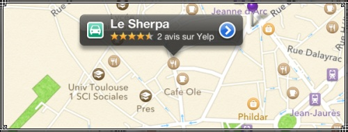 iOs6 - Plans - iphone 5 et Yelp - Toulouse