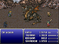 Final Fantasy 6: Edgard, Terra, Gau et  Shadow contre un dragon